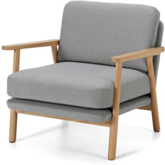 An Image of Lars Accent Armchair, Mountain Grey and Oak Frame