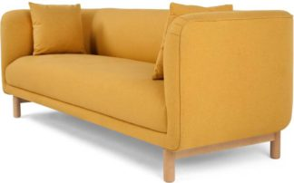 An Image of Becca 3 Seater Sofa, Yolk Yellow