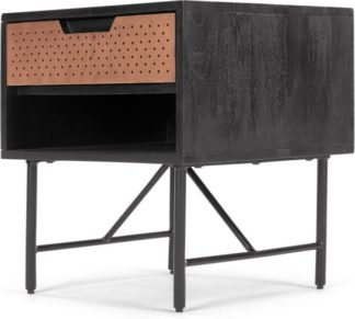 An Image of Franklin Bedside Table, Mango Wood and Copper