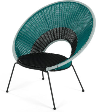 An Image of Yuri Garden Lounge Chair, Multi Woven Blue