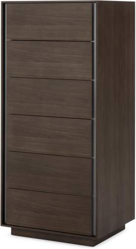 An Image of Lecki Tallboy, Walnut & Stainless Steel