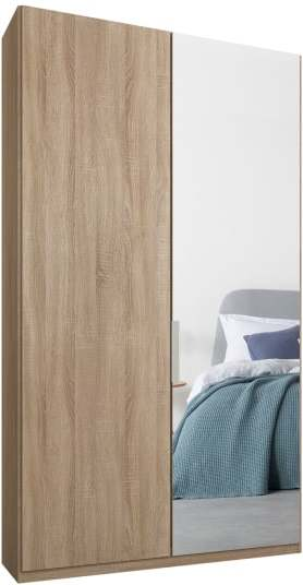 An Image of Caren 2 door 100cm Hinged Wardrobe, Oak Frame, Oak & Mirror Doors, Premium Interior