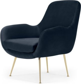 An Image of Moby Accent Armchair, Sapphire Blue Velvet with Brass Leg
