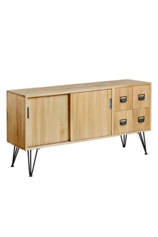 An Image of Felix Industrial Media Sideboard - Solid oak and steel