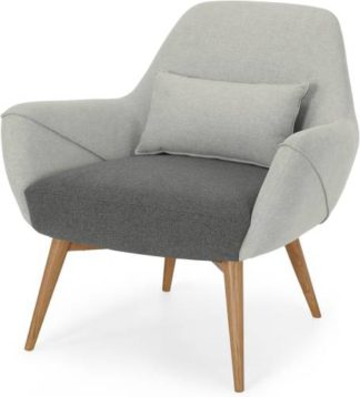 An Image of Lule Accent Armchair, Marl Grey and Hail Grey with Natural Leg
