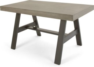 An Image of Edson Garden Dining Table, Cement and Metal