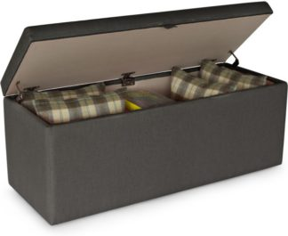 An Image of Decker Upholstered Storage Bench, Shire Grey