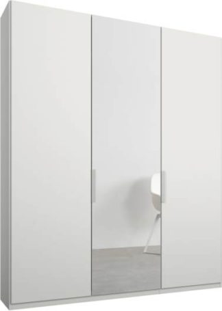 An Image of Caren 3 door 150cm Hinged Wardrobe, White Frame, Matt White & Mirror Doors, Standard Interior