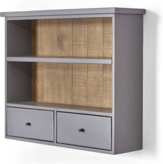 An Image of Iona Wall Mounted Shelving Unit, Solid Pine and Pebble Grey