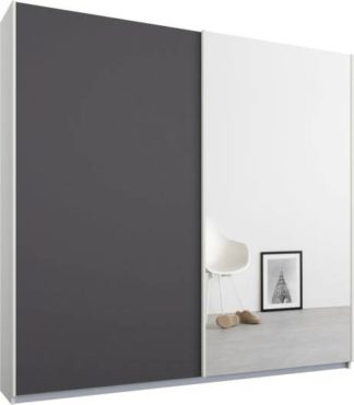 An Image of Malix 2 door 181cm Sliding Wardrobe, White frame,Matt Graphite Grey & Mirror doors , Classic Interior