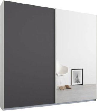 An Image of Malix 2 door 181cm Sliding Wardrobe, White frame,Matt Graphite Grey & Mirror doors, Standard Interior
