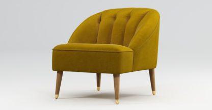 An Image of Custom MADE Margot Armchair, Antique Gold Cotton Velvet, Light Wood Brass Leg