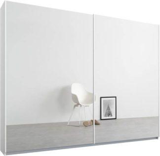 An Image of Malix 2 door 225cm Sliding Wardrobe, White frame,Mirror doors , Premium Interior