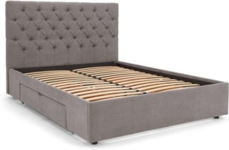 An Image of Skye Double Bed with Storage Drawers, Pewter
