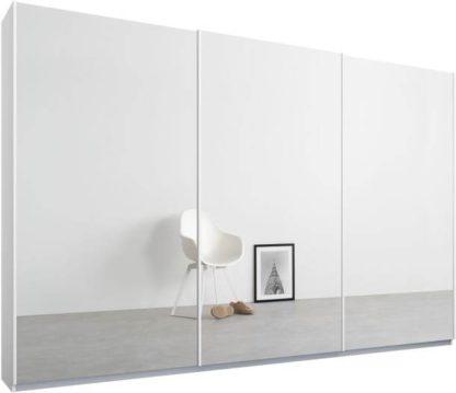 An Image of Malix 3 door 270cm Sliding Wardrobe, White frame,Mirror doors , Premium Interior