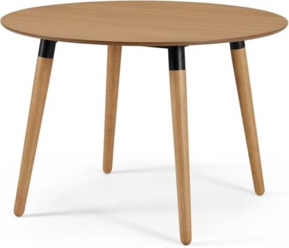 An Image of Edelweiss Round 4 Seat Dining Table, Oak and Black