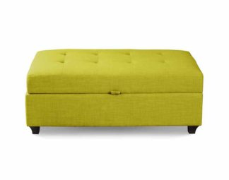 An Image of Leon Upholstered Ottoman - Lime
