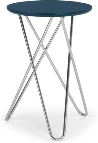 An Image of Eibar Side Table, Blue and Chrome