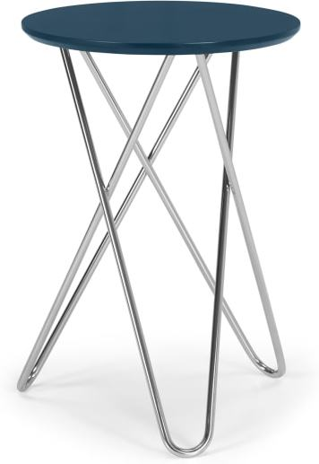 An Image of Eibar Side Table, Blue and Chrome