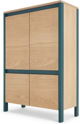 An Image of Ethan Hallway Storage, Oak and Teal
