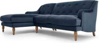 An Image of Ariana Left Hand Facing Chaise End Corner Sofa, Sapphire Velvet