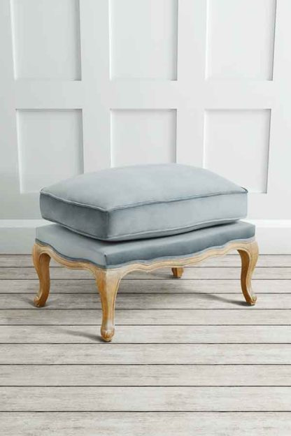 An Image of Le Notre French Vintage Style Shabby Chic Oak Stool Silver
