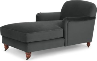 An Image of Orson Chaise Longue, Velvet Midnight Grey