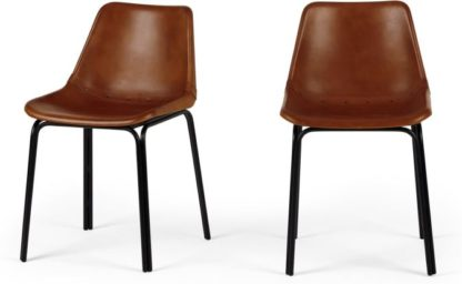 An Image of Lodi Set of 2 Dining Chairs, Tan and Black