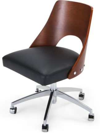 An Image of Hailey Swivel Office Chair, Walnut and Black
