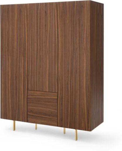 An Image of Keaton 3 Door Wardrobe, Walnut & Brass