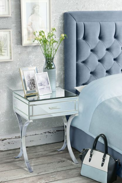 An Image of Aurelia Mirrored & Chrome Bedside Table
