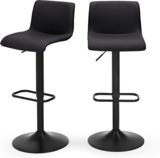 An Image of Set of 2 Sean Adjustable Bar Stools, Black