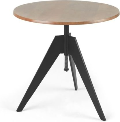 An Image of Javier Bistro Round Compact Swivel Dining Table, Mango Wood