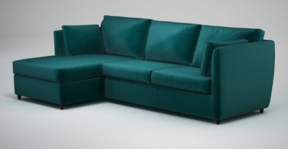 An Image of Custom MADE Milner Left Hand Facing Corner Storage Sofa Bed with Foam Mattress, Tuscan Teal Velvet