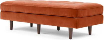 An Image of Scott Ottoman Bench, Burnt Orange Cotton Velvet