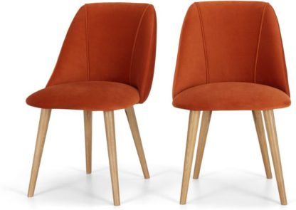 An Image of Set of 2 Lule Dining Chairs, Flame Orange velvet and Oak
