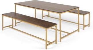An Image of Lomond Dining Table and Bench Set, Mango Wood And Brass