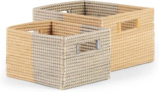 An Image of Havana Seagrass Set of 2 Baskets, Mustard Yellow