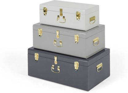 An Image of Gunner Set of 3 Extra Large Metal Storage Trunks, Tonal Grey