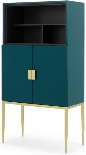 An Image of Imma Tall Drinks Cabinet, High Gloss Teal and Brass