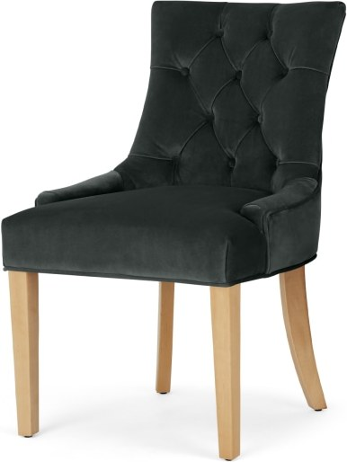 An Image of Flynn Scoop Back Chair, Midnight Grey Velvet and Birch