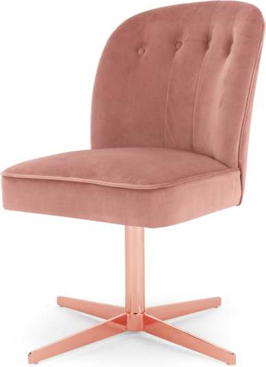 An Image of Margot Office Chair, Blush Pink Velvet and Copper