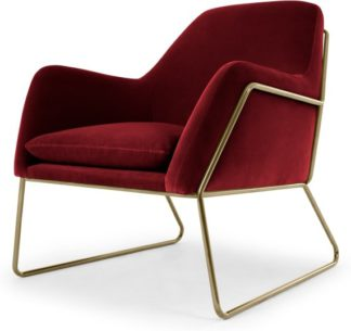 An Image of Frame Armchair, Claret Cotton Velvet with Bright Gold Frame