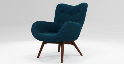 An Image of Custom MADE Doris Accent Chair, Shetland Navy with Dark Wood Legs