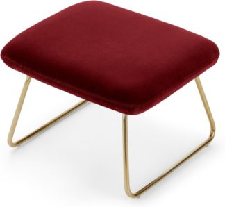 An Image of Frame Footstool, Claret Cotton Velvet with Bright Gold Frame