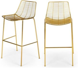 An Image of Set of 2 Marvel Bar Stools, Brass