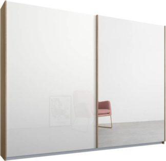 An Image of Malix 2 door 225cm Sliding Wardrobe, Oak frame,White Glass & Mirror doors , Premium Interior