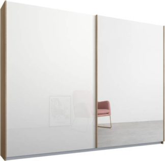 An Image of Malix 2 door 225cm Sliding Wardrobe, Oak frame,White Glass & Mirror doors, Standard Interior