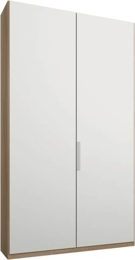 An Image of Caren 2 door 100cm Hinged Wardrobe, Oak Frame, Matt White Doors, Standard Interior