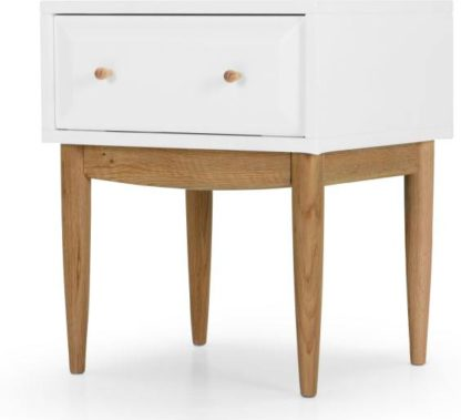 An Image of Willow Bedside Table, Oak and White